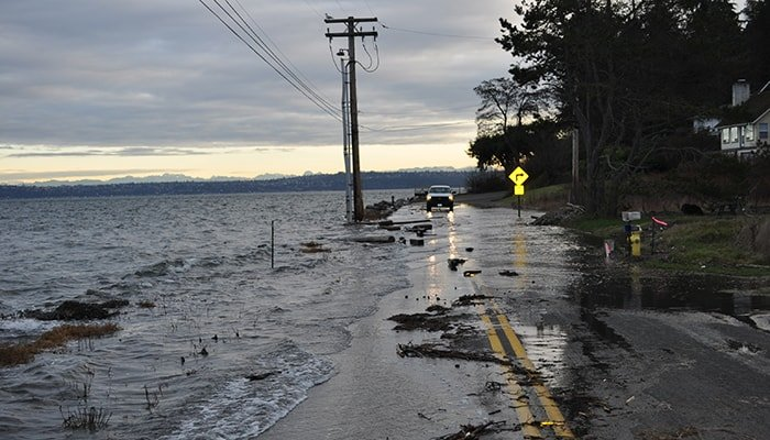 High tide flooding in Port Orchard, Washington, on Jan. 6, 2010. (Ray Garrido, courtesy of Washington Department of Ecology)