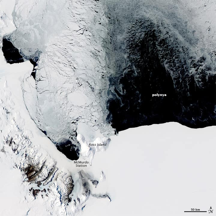 Polynya off the coast of Antarctica, near Ross Island.  Image: NASA, November 16, 2011.