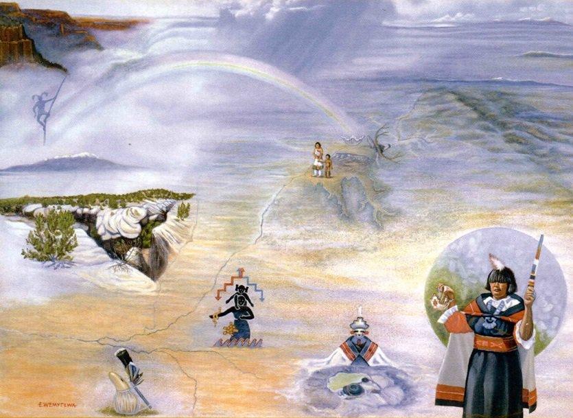 """K'yawakwayina:we (Waterways),"" by Edward Wemytewa (2006). Image from UCLA Fowler Museum"