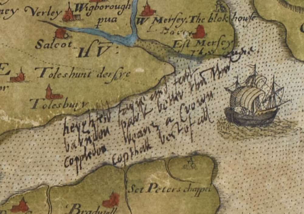 Scanned detail from the map of Essex, 1576, with annotations in Burghley's hand: Royal MS 18 D III, f. 36r.  British Library.