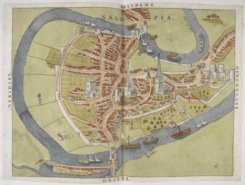 Scanned map of Shrewsbury, Shropshire, with annotations in Burghley's hand: Royal MS 18 D III, f. 90r. British Library.