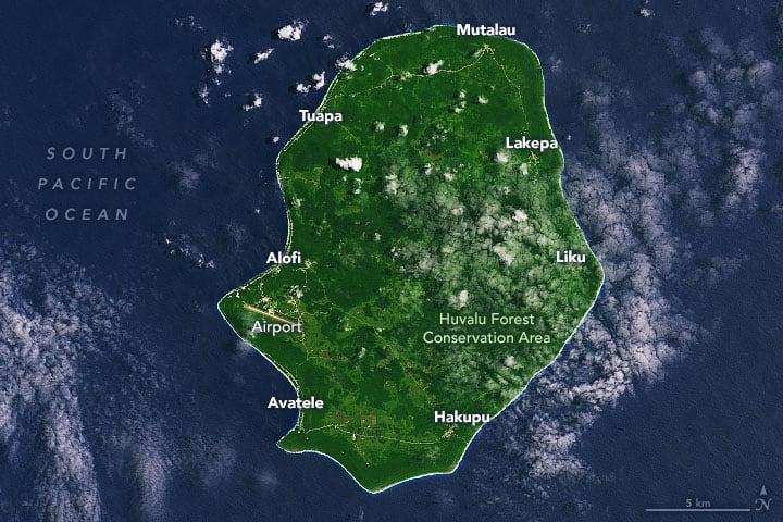 This Landsat 8 image taken on November 5, 2019 shows the island of Niue.  Source: NASA, public domain.