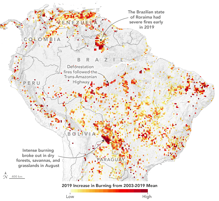 Map showing hot spots associated with fires in the Amazon based on remote sensing from  the Moderate Resolution Imaging Spectroradiometer (MODIS) and the Visible Infrared Imaging Radiometer Suite (VIIRS) instruments on NASA and NOAA satellites.  Source: NASA.