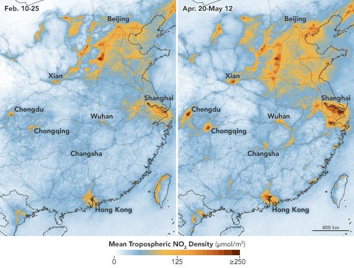 Maps showing NO2 levels in central and eastern portions of the country from February 10–25 (during the quarantine) and April 20 to May 12 (after restrictions were lifted). Source: NASA.