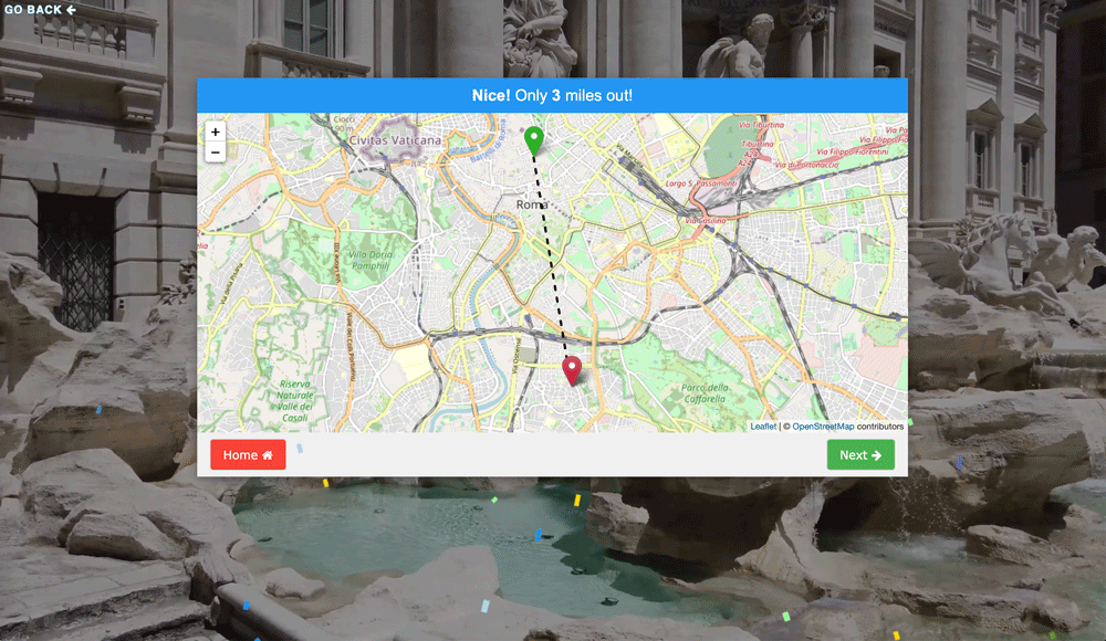 Screenshot from the City Guesser geography game.