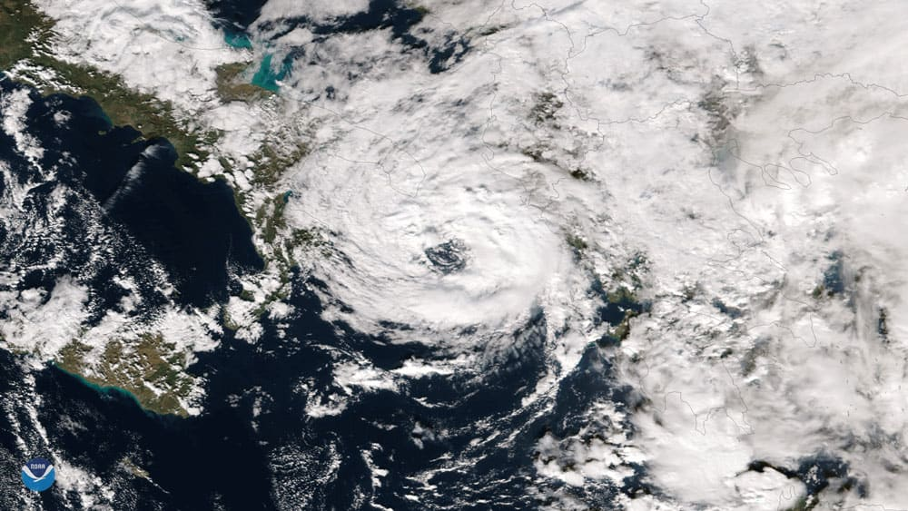 NOAA/NASA's Suomi NPP captured this image of a rare tropical-like storm system in the Mediterranean Sea intensifying off of Italy's southern coast on November 18, 2017. The image shows a well-defined eyewall as the storm entered the Ionian Sea between Italy and Greece. Image: NOAA, public domain.