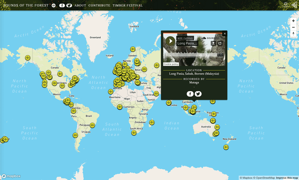 Screenshot from the Sounds of the Forest web map, taken September 4, 2020.