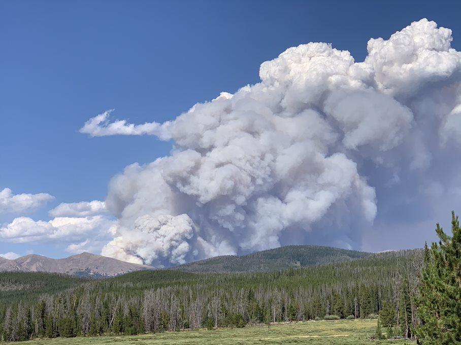 Cameron Peak Fire smoke column on August 13, 2020.  Photo: InciWeb.