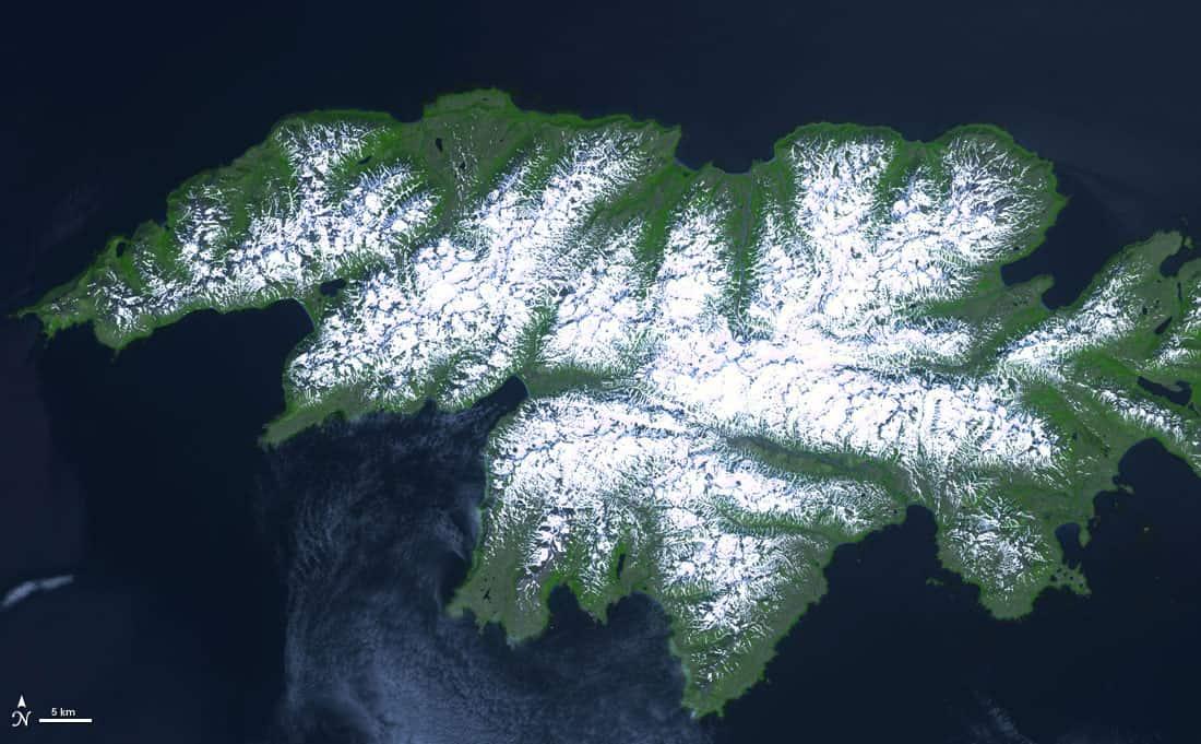 Attu Island, Alaska, July 4, 2000. Source: NASA Terra Satellite, public domain.