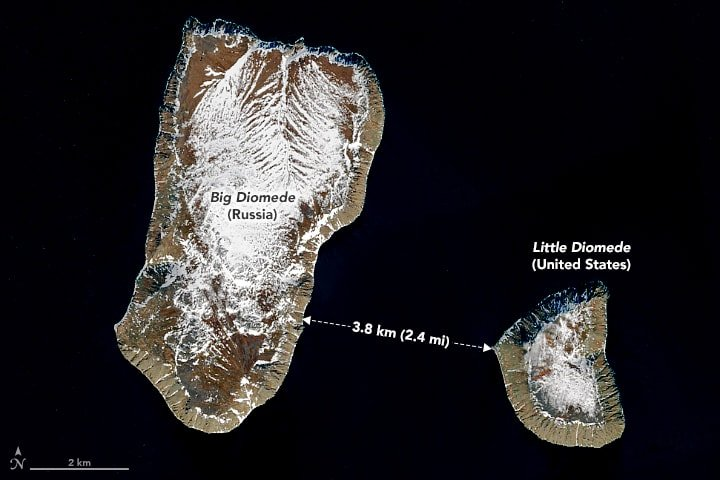 A NASA-NOAA Suomi NPP satellite image acquired on June 2, 2017 showing the Big and Little Diomedes islands.  ImageL: NASA, public domain.