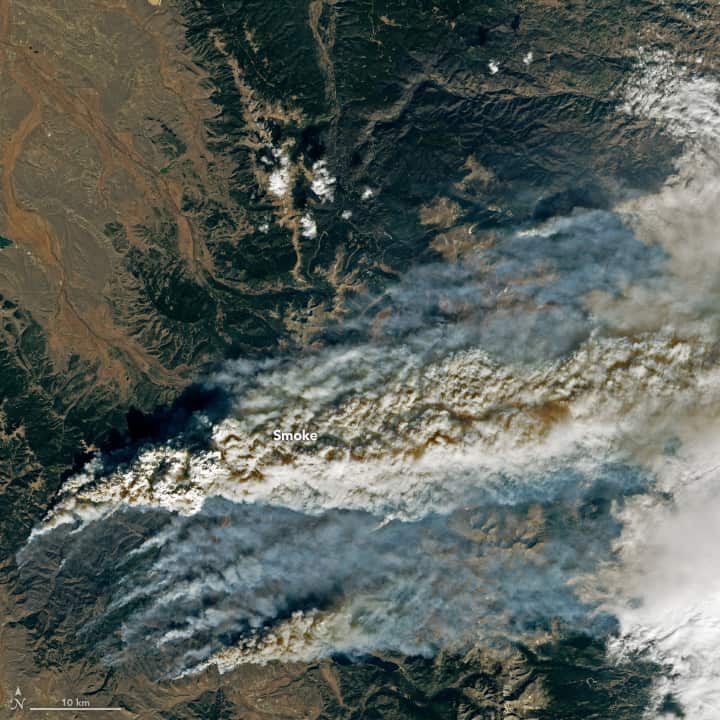 East Troublesome Fire on October 22, 2020.  Landsat image, NASA, public domain.