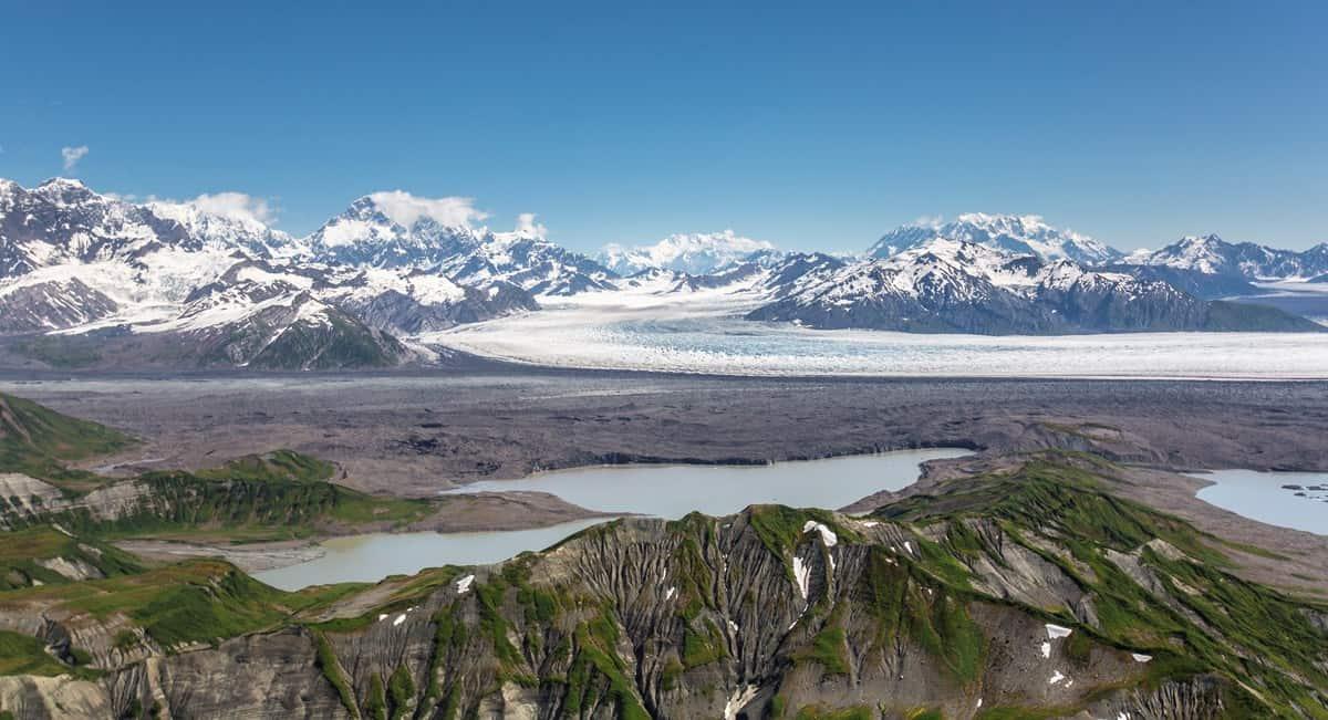 St Elias Mountains, Agassiz Lakes, Libby Glacier and Agassiz Glacier Confluence.  Photo: NPS / J. Frank, public domain.
