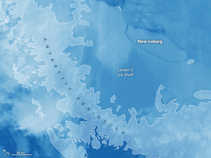 Map showing the location of Iceberg 68-a and the Larsen C ice shelf. Map: NASA