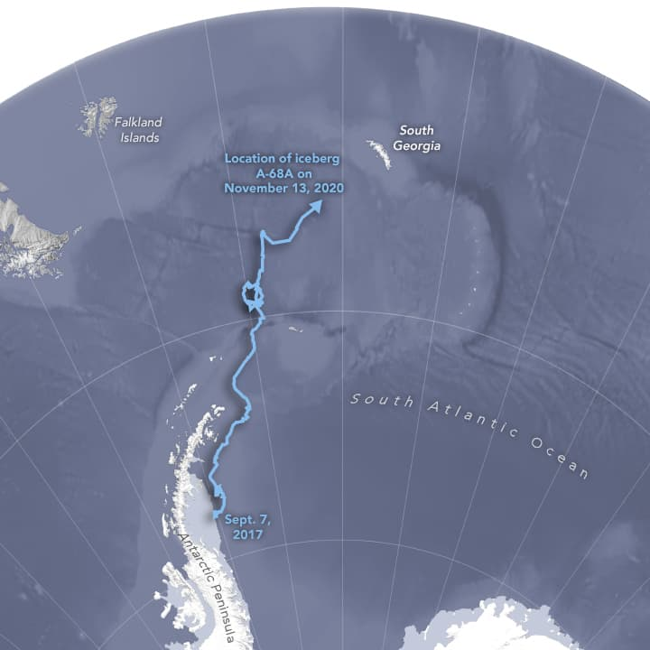 Map showing the path of Iceberg A68-A from September 7, 2017 - November 13, 2020.  Map: NASA.