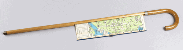 A walking cane with a map, 1940