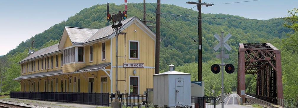 A picture of Thurmond Depot and railroad bridge, West Virginia.