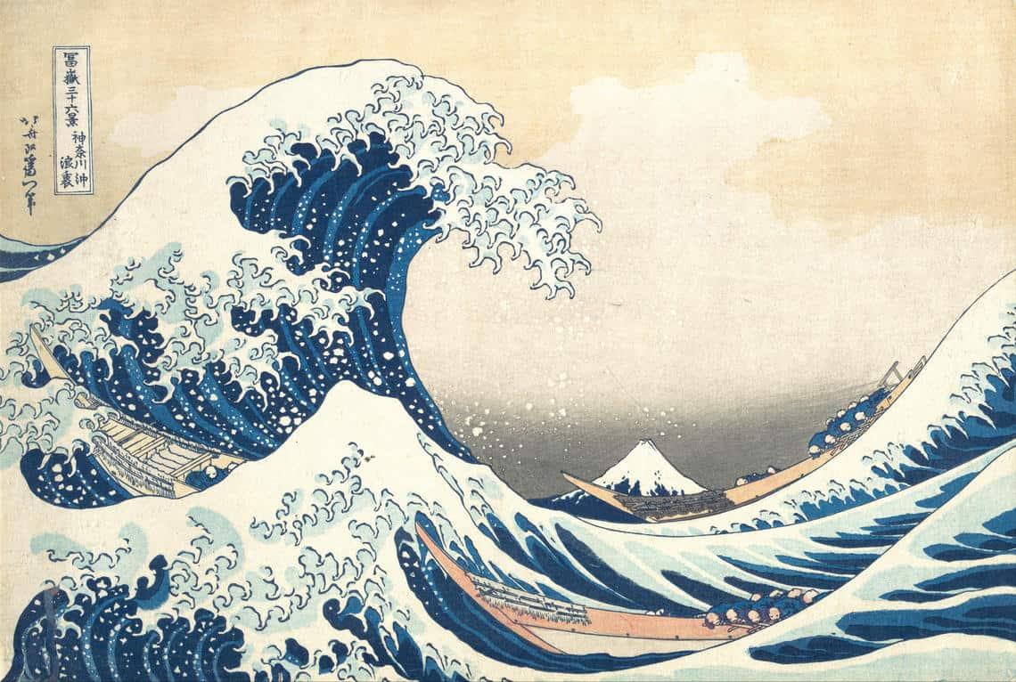 Under the Wave off Kanagawa (Kanagawa oki nami ura), also known as The Great Wave, from the series Thirty-six Views of Mount Fuji (Fugaku sanjūrokkei), by artist Katsushika Hokusai (Japanese, Tokyo (Edo) 1760–1849 Tokyo (Edo)). Dated sometime between 1829-1833.