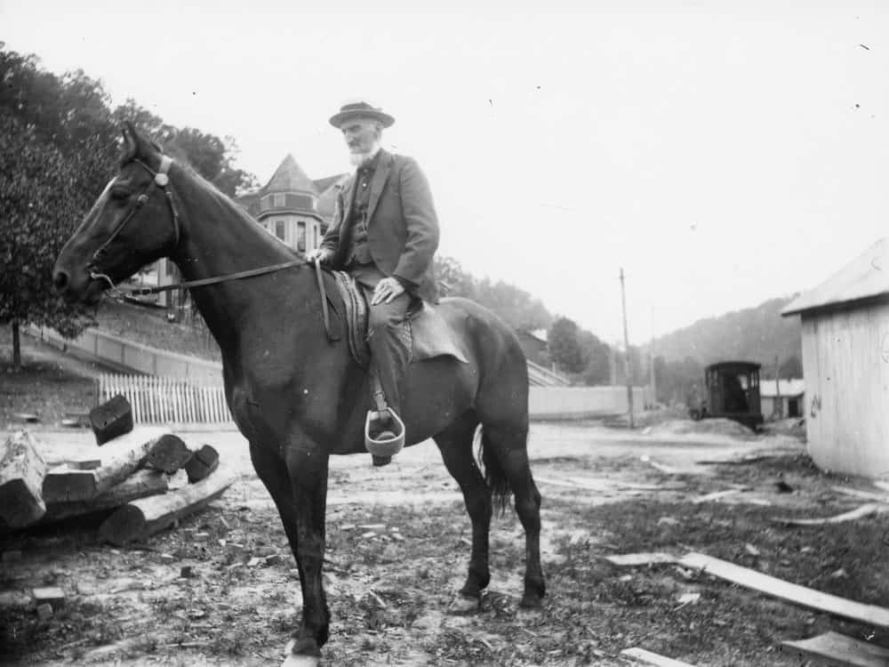 A photo of Captain W.D. Thurmond on a horse.  Date unknown.