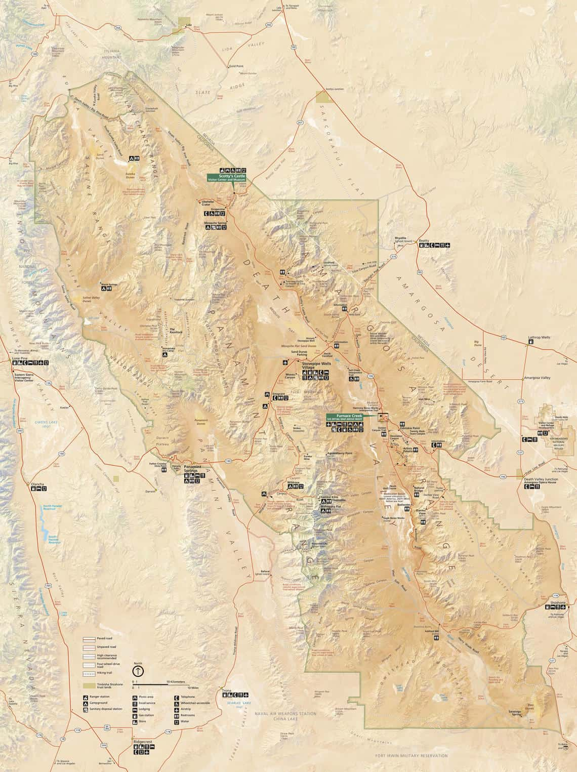 Map of Death Valley.  Map: National Park Service.