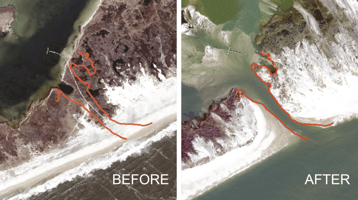 Before and after photos showing the breach on Fire Island after Hurricane Sandy.  Photo: USGS, public domain