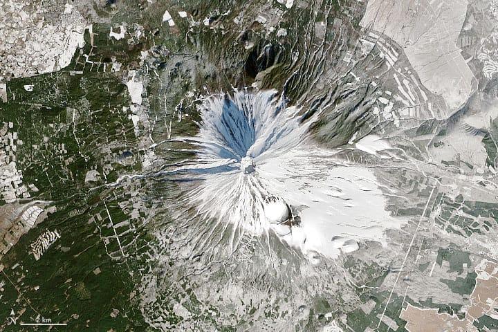 Landsat satellite image of Mount Fuji, December 29, 2013.  Source: NASA, public domain.