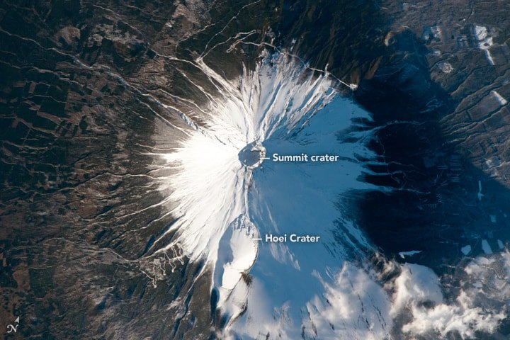 Photo of Mount Fuji taken from the International Space Station on February 8, 2016.