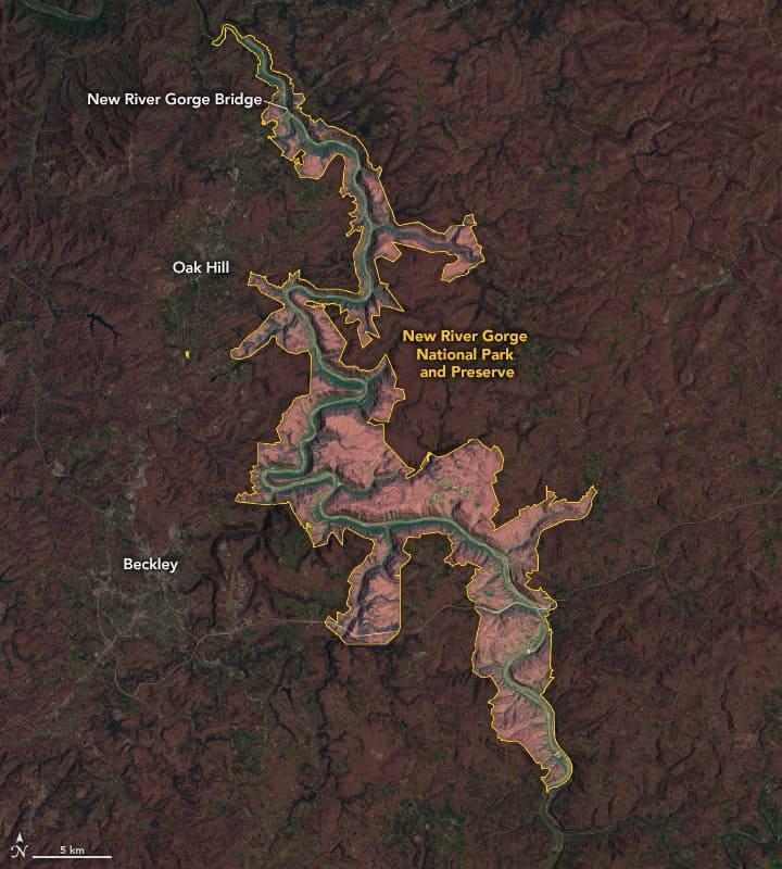 Landsat 8 satellite image coupled with SRTM elevation data showing  the New River Gorge National Park and Preserve.  Image: NASA.