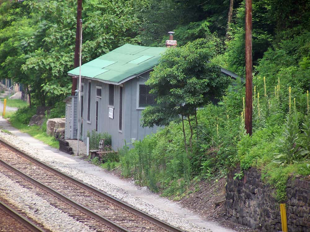A photo of the Thurmond post office next to train tracks in West Virginia.
