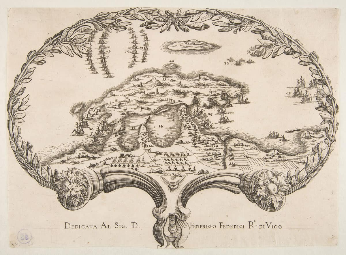 Topographic Plan (Porto Ercole?) in the Shape of a Fan.  Anonymous, 17th century.  Source: Metropolitan Museum of Art.
