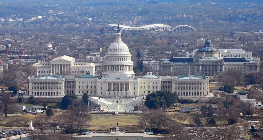 Aerial photograph of the U.S. Capitol building.