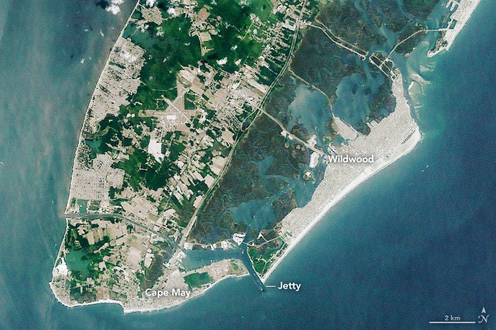 Wildwood barrier island, New Jersey.  Satellite image from NASA, public domain.