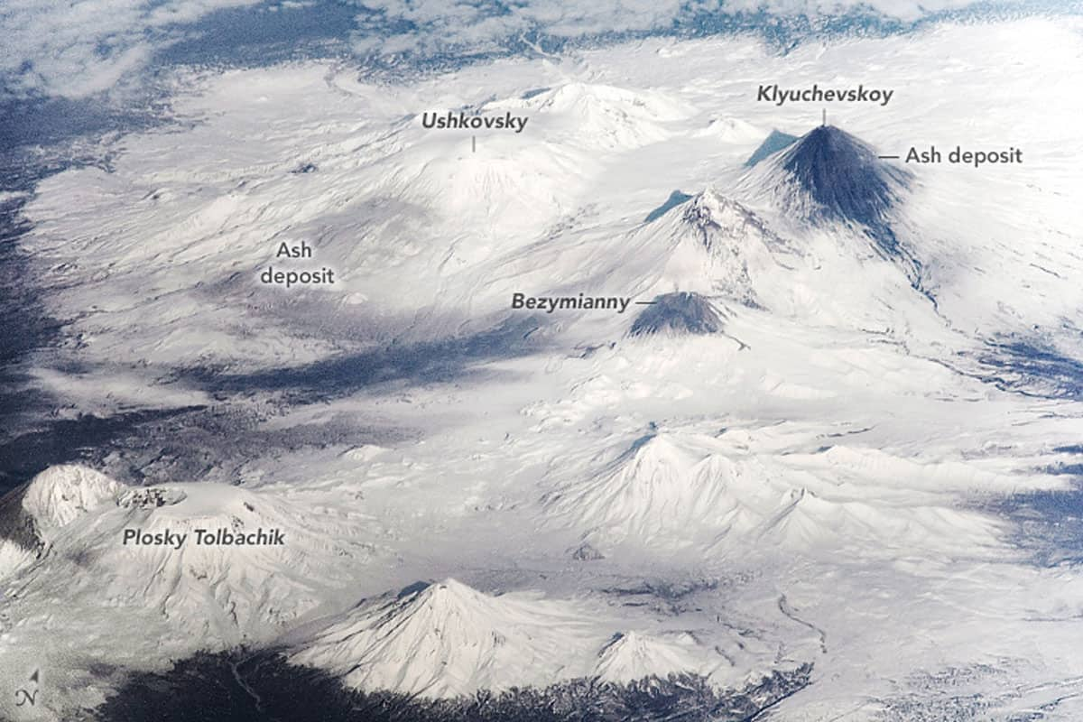 Some of the active volcanoes in the Kamchatka Peninsula, Russia.  ISS photo ISS064-E-319.