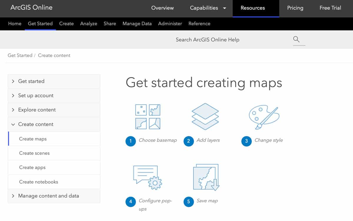 Screenshot from the make a map documentation for ArcGIS Online.