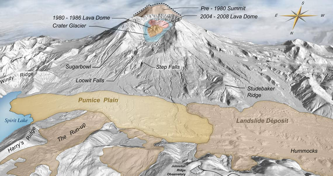 Digital Elevation Map of Mount St. Helens with annotations. Source: USGS, public domain.