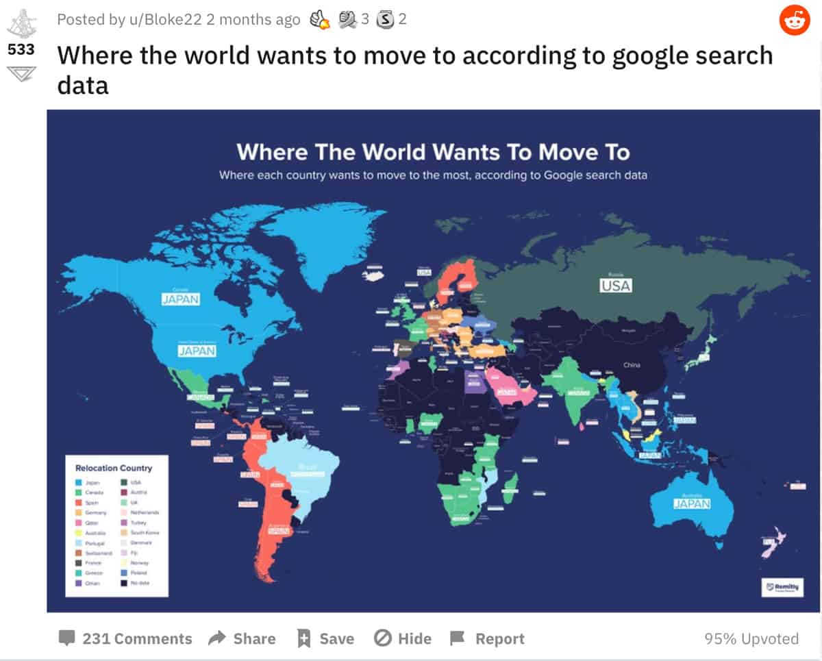 """Stereotypical bad map formats that tend to go viral are maps based on Google search results by country or by U.S. state.   In this screenshot from Reddit: """"Where the world wants to move to according to google search data."""" Screenshot taken 10-Feb-2021."""