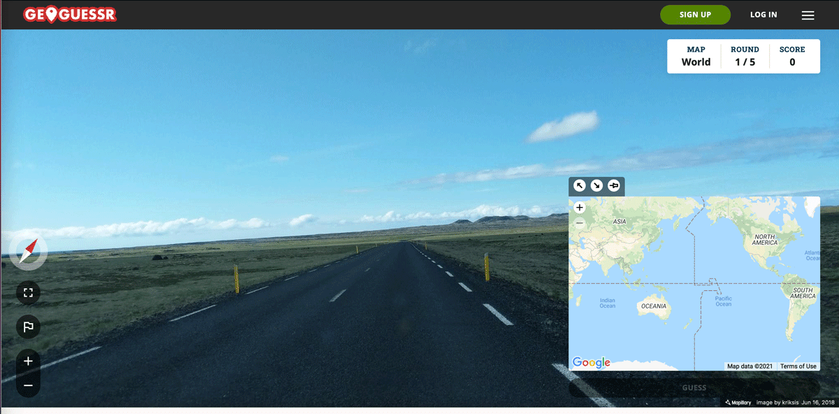 Where in the world?  Geoguessr's world geography game requires users to guess the location based on visual clues in the street level imagery.  Screenshot of the free Geoguessr version that uses Mapilary instead of Google Maps.  Acquired March 10, 2021.
