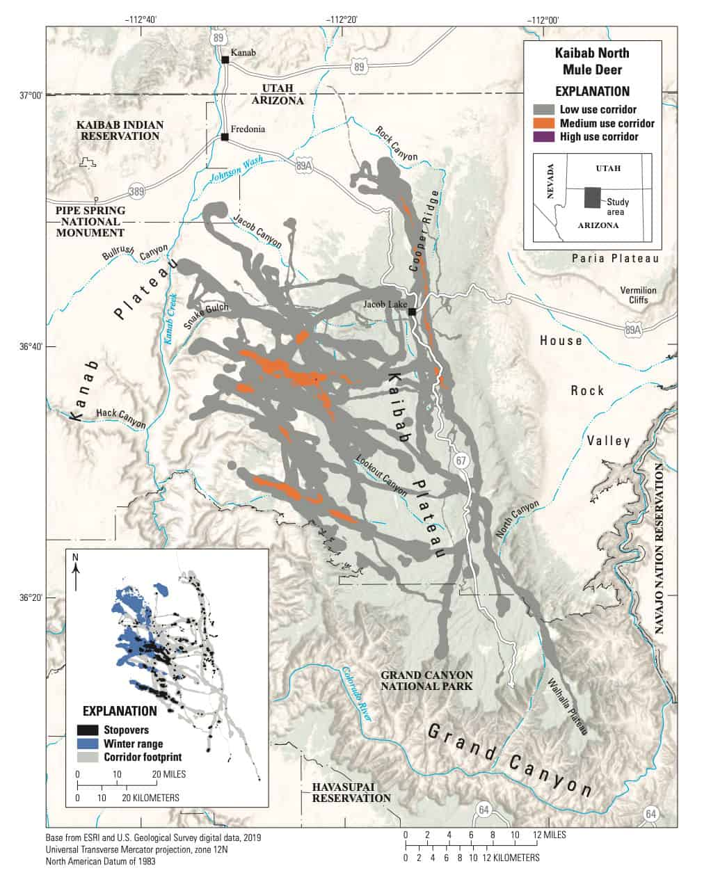 Migration corridors, stopovers, and winter ranges of the Kaibab North mule deer herd. Map: USGS.