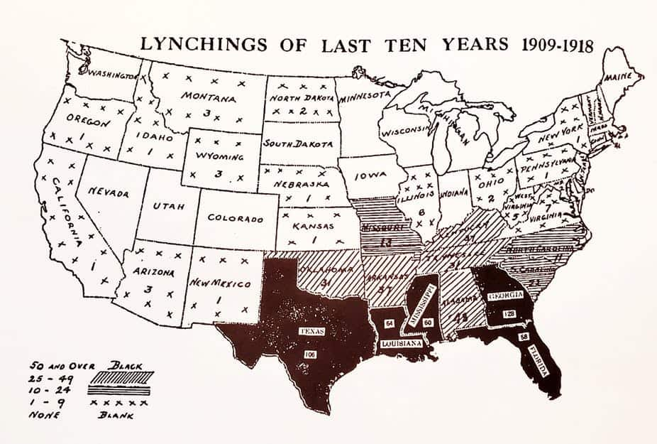 An early 20th-century NAACP map showing lynchings between 1909 and 1918. The maps were sent to politicians and newspapers in an effort to spur legislation protecting Black Americans. Library of Congress