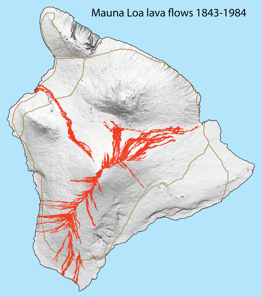 Map of lava flows that have erupted on Mauna Loa Volcano from 1843-1984. Source: USGS, public domain.