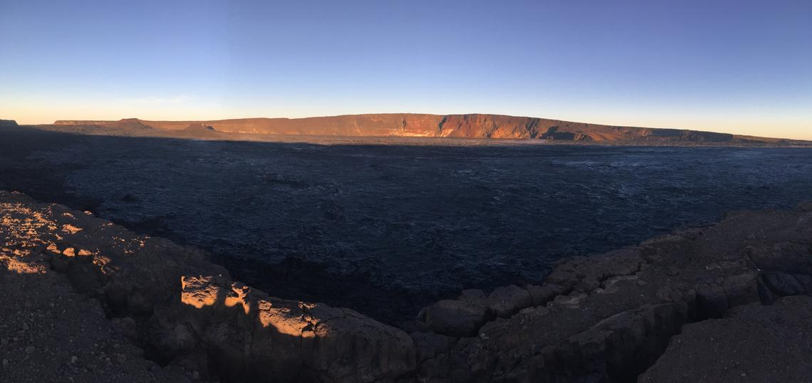 An early morning view looking north across Moku'āweoweo, Mauna Loa's summit caldera, from a spot near the summit cabin on the volcano's south caldera rim. Photo by M. Patrick, 09-08-2019, USGS, public domain.