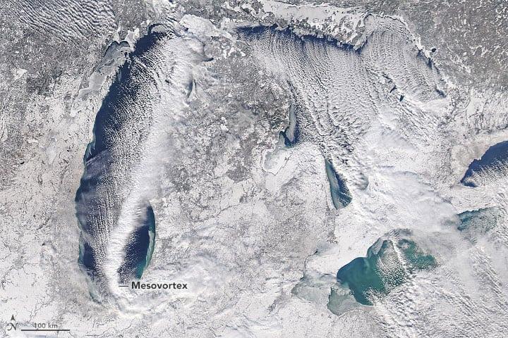 Satellite image of a strong band of lake-effect snow moving across Lake Michigan.  Image: NASA,  December 31, 2017
