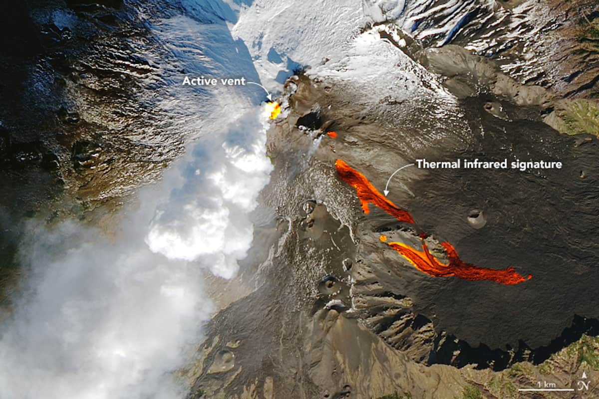 Landsat 8 imagery of Mount Etna acquired on Mount Etna on December 28, 2018. Source: NASA.