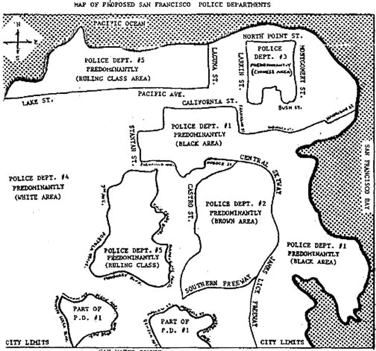 The Black Panthers' proposed police districts for the city of San Francisco, created in 1966 or 1967. Ccarolson/FoundSF, CC BY-SA