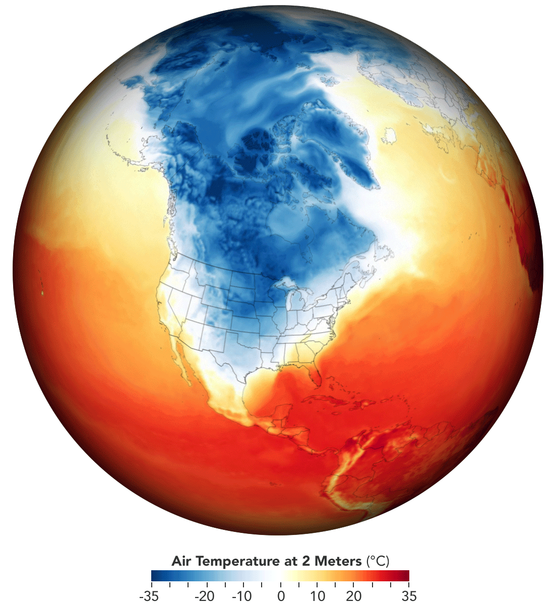 Map of temperatures across the United States and Canada on February 15, 2021. Source: NASA.
