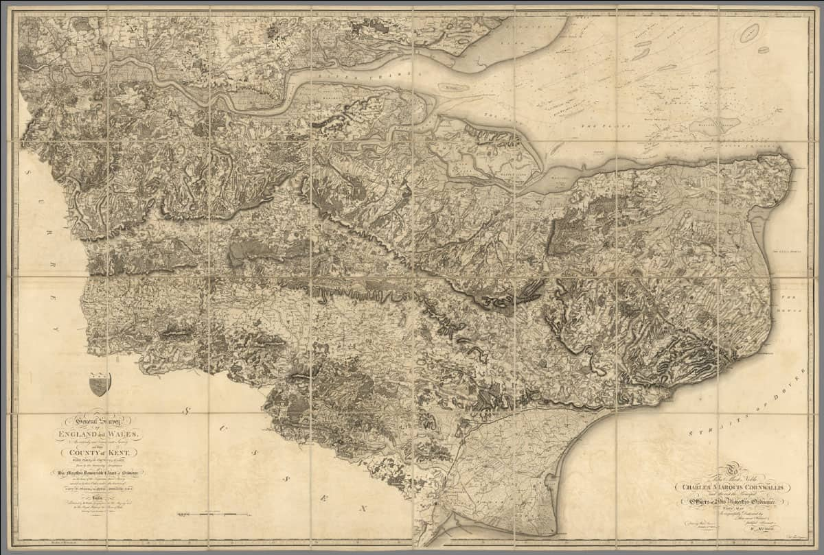 """Map: """"The County of Kent, with part of the County of Essex"""" via the David Rumsey Map Collection."""