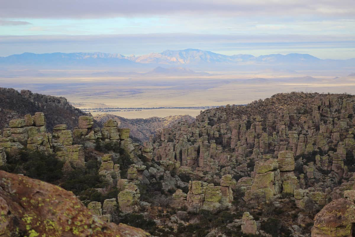 The Chiricahua Mountains are one of many sky islands stretching across southern Arizona. In this view, the Dragoon Mountains on the other side of Sulphur Springs Valley can also be seen.  Photo: NPS.