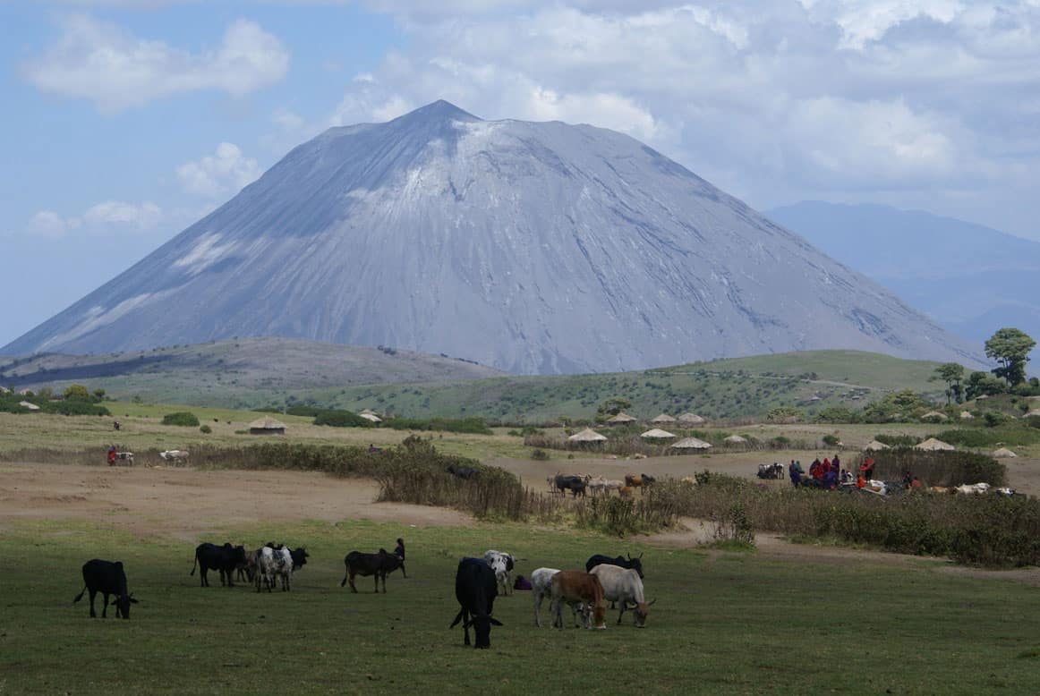 The village of Naiyobi, about 5 miles from the summit of Ol Doinyo Lengai, was impacted by ashfall from eruptions in 2007 and 2008.  Photo: Gari Mayberry, U.S. Geological Survey. Public domain.  Taken January 22, 2009.