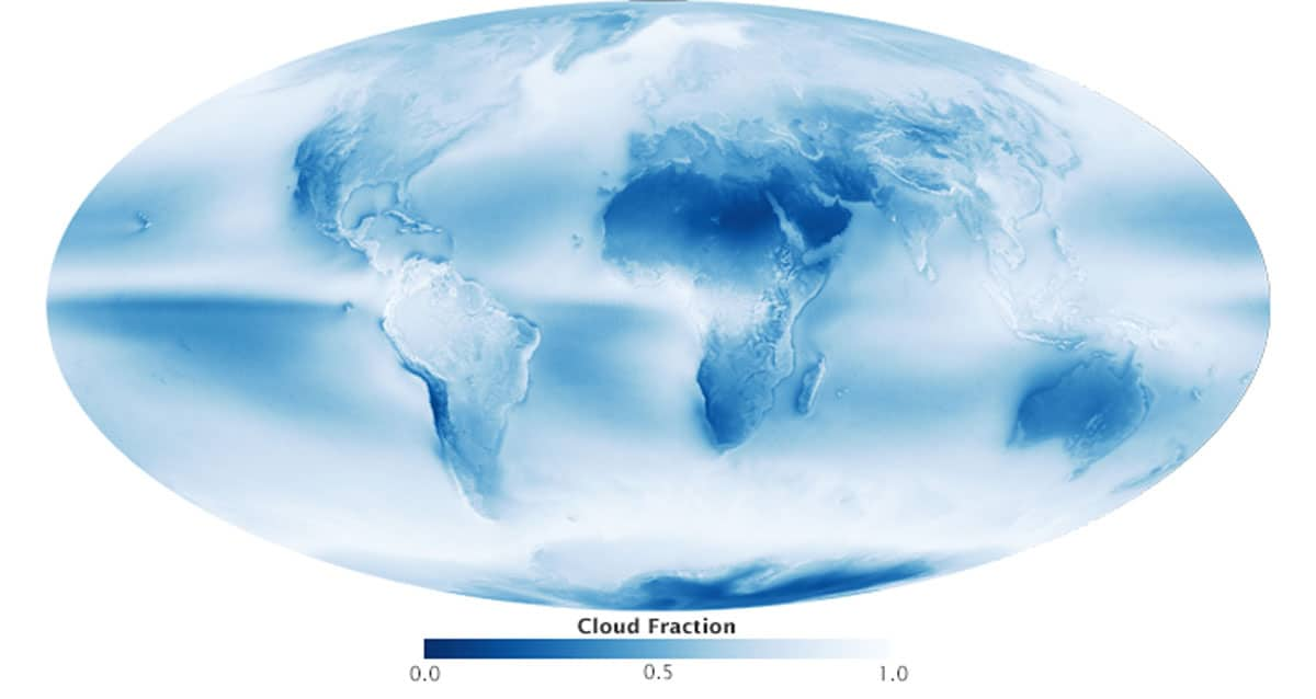 World map of cloud fraction based on satellite imagery from July 2002 to April 2015.  Map: NASA.