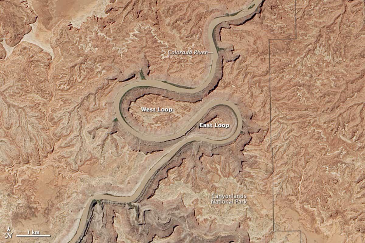 Landsat 8 satellite image of the meandering Colorado River. Image: NASA