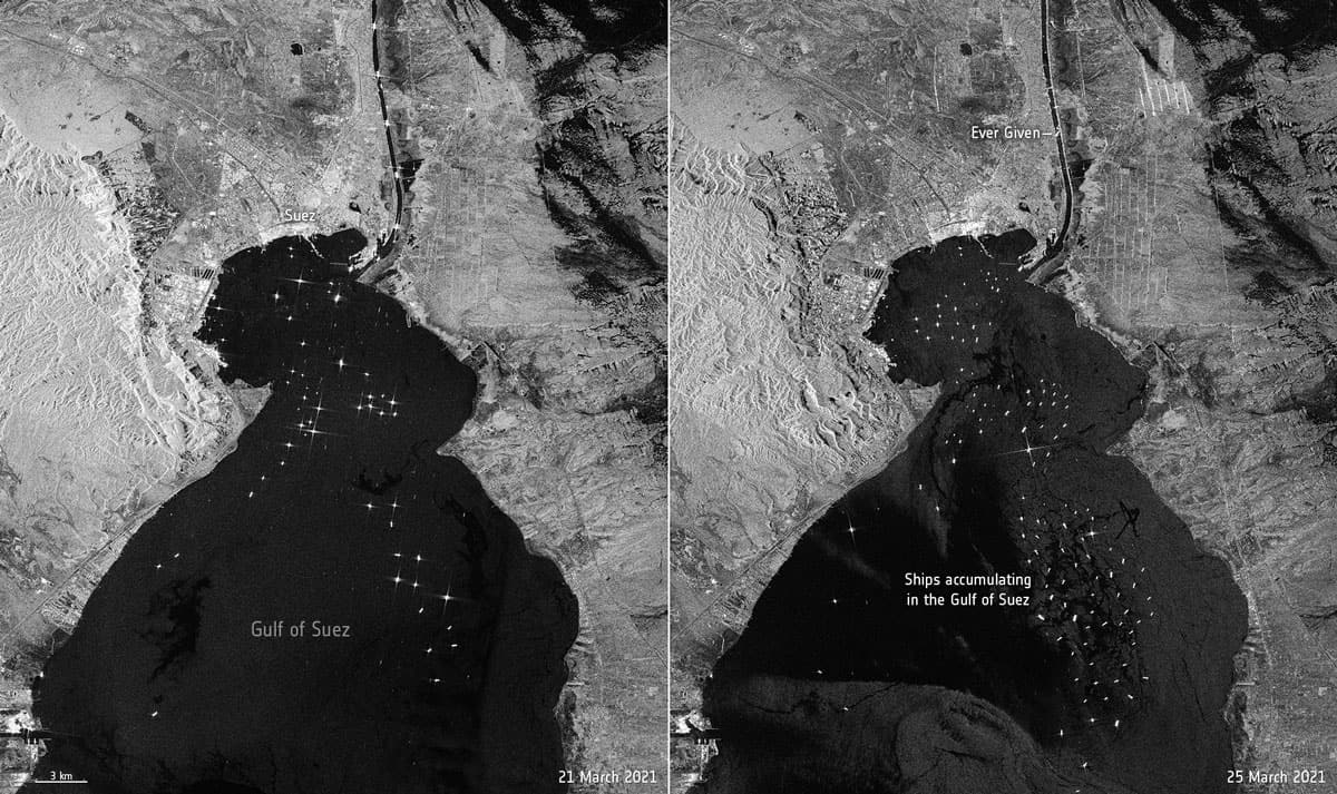 Sentinel 1 satellite image of the Gulf of Suez on March 21 (L) and March 25 (R ) showing the accumulation of waiting ships after the Ever Given becomes stuck in the Suez Canal.  Images: ESA, CC BY 4.0
